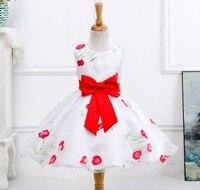 NEW FASHION GIRL DRESSES BIG BOW FLOWER PRINTING PRINCESS DRESS GIRL SUMMER CLOTHES LM008