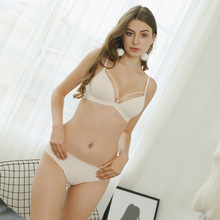 New Sexy Hollow Rimless Underwear Set Thin Triangle Cup Comfortable Skin Cotton Fabric Bra