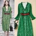De alta calidad de la manera 2017 primavera runway dress mujeres vestidos de encaje de manga larga atractiva del v-cuello con cremallera frontal verde femme vestido