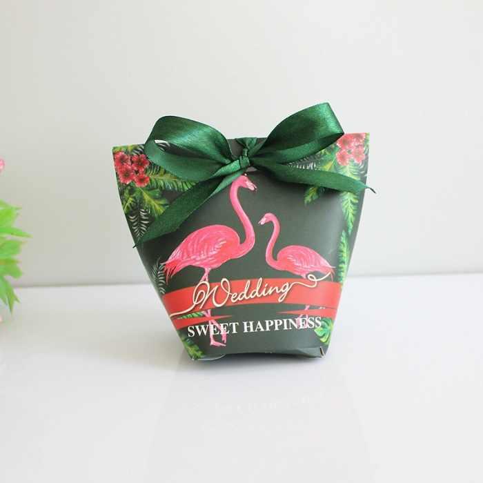 Festival Supplies Kotak Permen Tas Coklat Kertas Hadiah Paket untuk Ulang Tahun Pesta Pernikahan Diy Hiasan Dekorasi Flamingo/Hijau WH