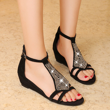 Women's T-strap Sandals Genuine Leather Fashion Rhinestone Open Toe Summer Shoes Women Sandalias Brand Designer Comfort Flats