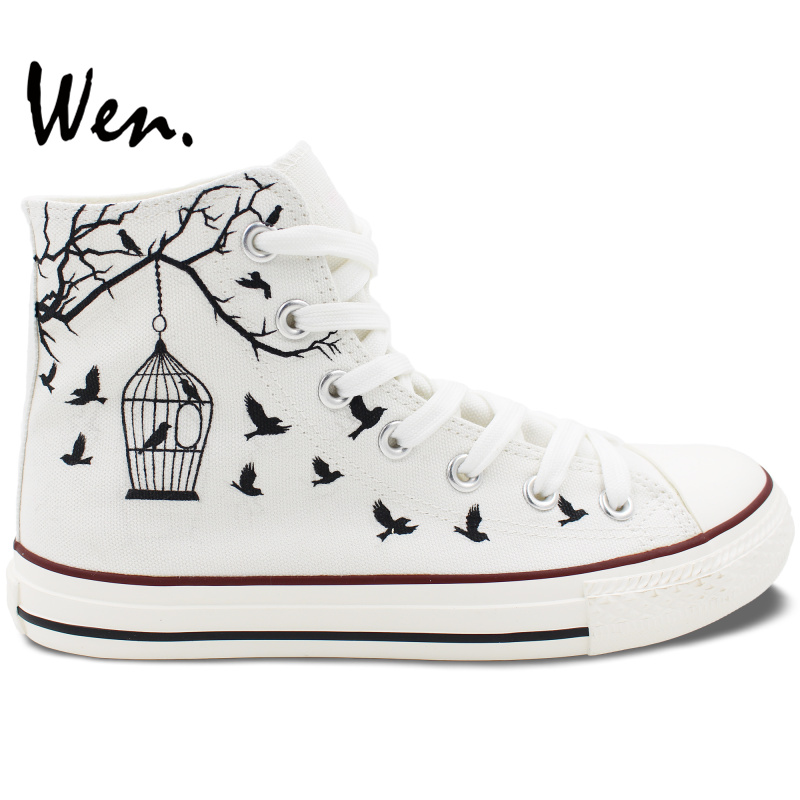 Wen Design Custom Hand Painted White Canvas Shoes Bird Cage Men Women High Top Sneakers Flats Lace Up Gifts Birthday Presents цена