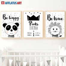 Black White Lion Panda Crown Quotes Wall Art Canvas Painting Nordic Posters And Prints Cartoon Picture Kids Room Home Decor