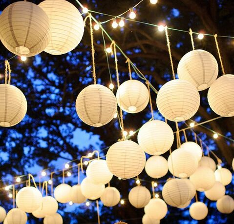 Paper Balls Chinese Round Paper Lanterns For Wedding Party Home Hanging Decoration Lamps Round Wedding Paper Lantern