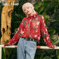 Women Floral Prints Chiffon Blouses High Street Young Ladies Stand Ruffled Collar Long Sleeve Red Blouse Thin Modest Tops