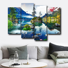 Laeacco Canvas Calligraphy Painting Natural Scenery Lake Sky Cloud Posters and Prints Wall Art Picture Living Room Home Decor
