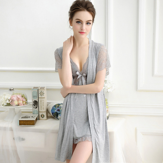 Sexy Nightie Women Bathrobes Robe Set High Quality Lace Nightgown Bathrobes Spaghetti Strap Nightgowns Dressing Gowns For Women