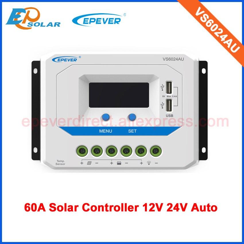 Contrôleur de système de chargeur solaire de système à la maison 60A pour le travail automatique 12 V 24 V VS6024AU port USB de sortie affichage d'affichage à cristaux liquides de régulateur de 60 ampères