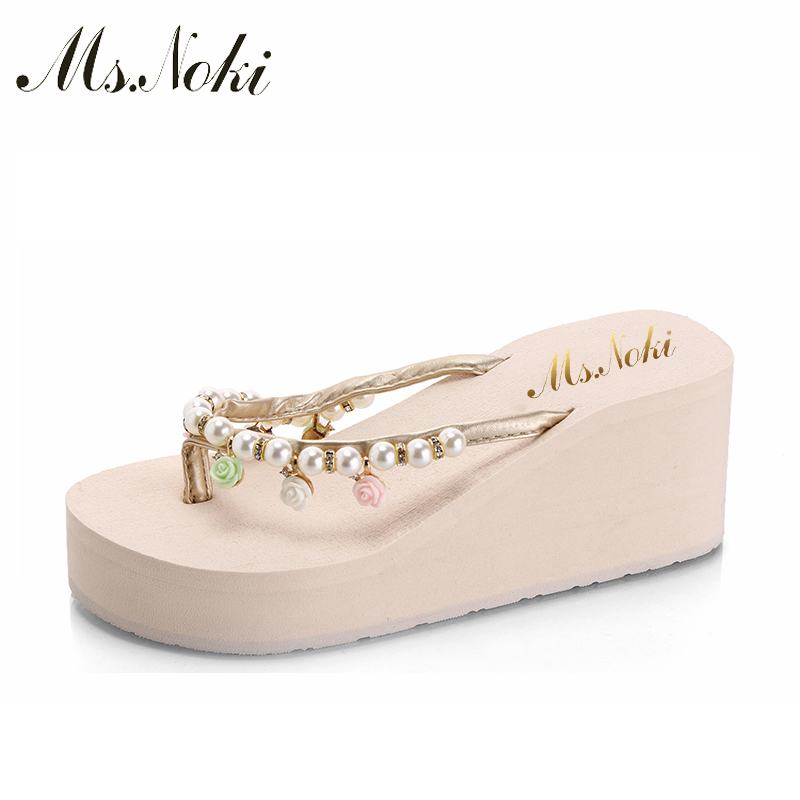 Ms.Noki Pearl Flower New Women Sandals Fashion Summer Sandals Wedges Flip Flops Platform Slippers Shoes 35-40 soft shoes phyanic 2017 gladiator sandals gold silver shoes woman summer platform wedges glitters creepers casual women shoes phy3323