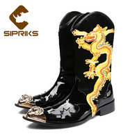 Sipriks Punk Leather Men Mid Calf Western Boots Pointed Toe Lace Up Mens Military Cowboy Boots