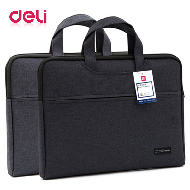 Deli briefcase document bag portable file bag good qulity durable portable laptop bag double layer business officially work bag