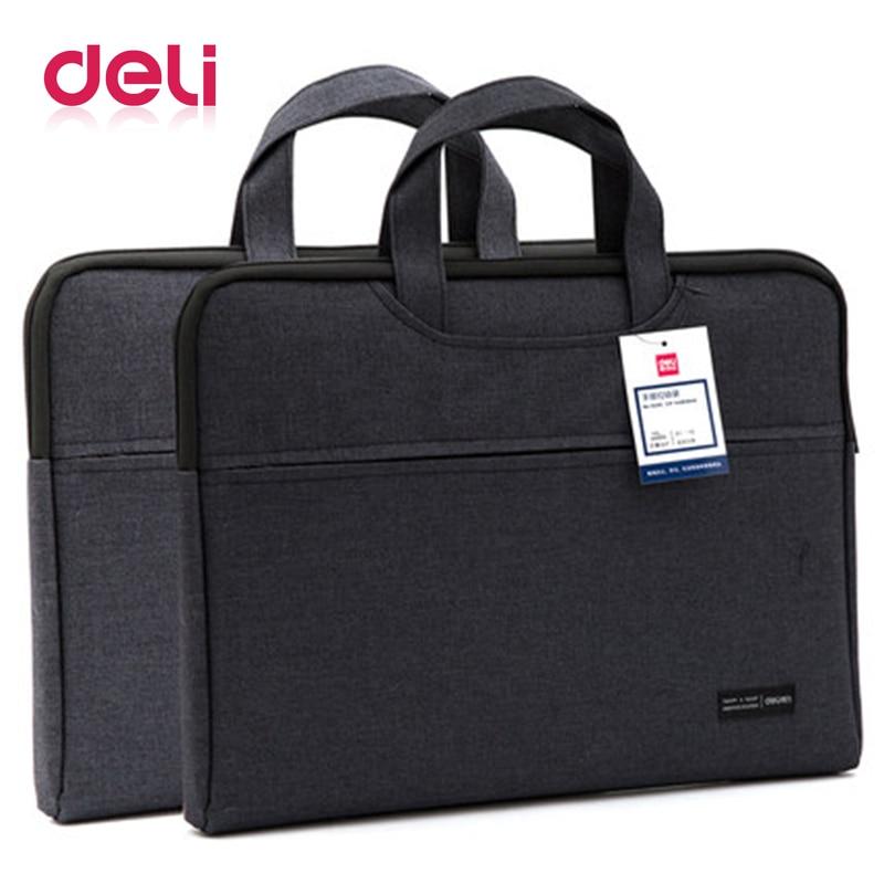 Deli Briefcase Document Bag Portable File Bag Good Qulity Durable Portable Laptop Bag Double Layer Business Officially Work Bag