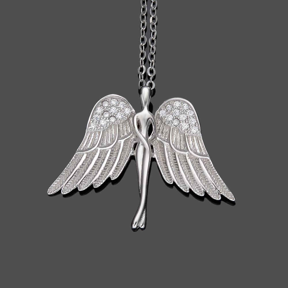 Tuliper Silver/Gold 925 Sterling Silver Angel Bridal Charm Necklace Cubic Zircon Pendant Necklace For Wedding Party GiftTuliper Silver/Gold 925 Sterling Silver Angel Bridal Charm Necklace Cubic Zircon Pendant Necklace For Wedding Party Gift