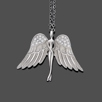 Tuliper Silver/Gold 925 Sterling Silver Angel Bridal Charm Necklace Cubic Zircon Pendant Necklace For Wedding Party Gift