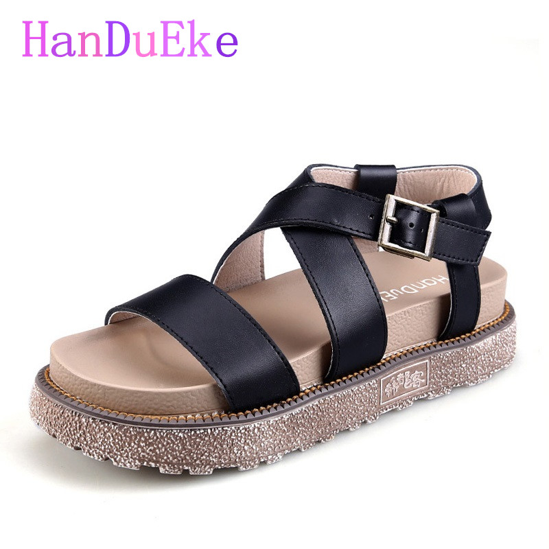 HanDuEKe New 2017 Genuine Leather Gladiator Sandals Fashion Wedges Girls Platform Sandals Women Summer Casual Beach Shoes Woman 2017 new women gladiator sandals bohemia fashion girls platform sandals casual summer shoes woman wedges beach sandals 7778w