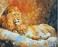MaHuaf W925 Royal Lion Family Set For Coloring By Numbers Art Animal Pictures For Living Room