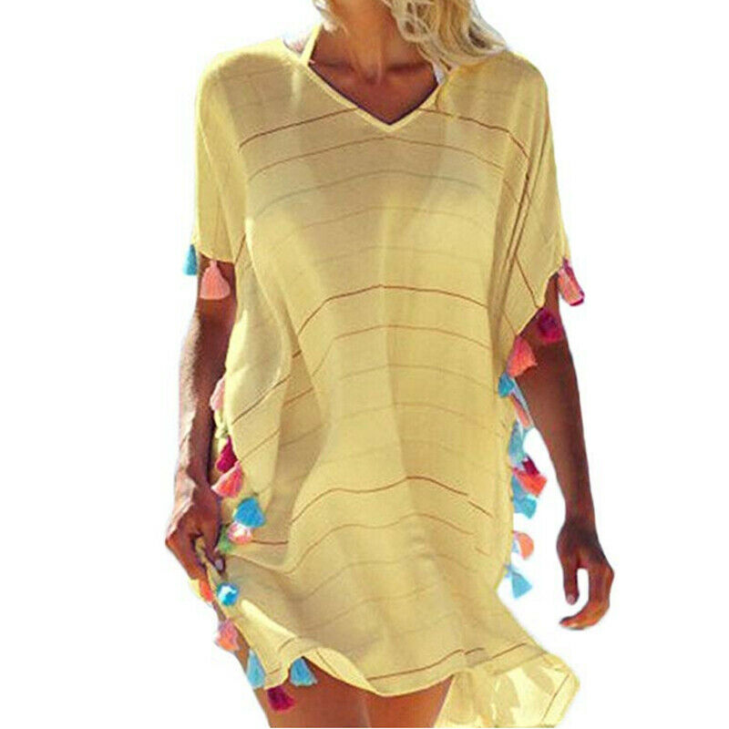 2019 One Piece Women Sunmmer Beach Bikini Cover Up Boho Casual Party Sun Mini Dress Sundress Tassels Bathing Suit Striped Hot
