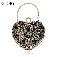 GLOIG Vintage Fashion Women Evening Bags Beaded Finger Ring Diamonds Purse Evening Bags Small Day Clutches Metal Handbags