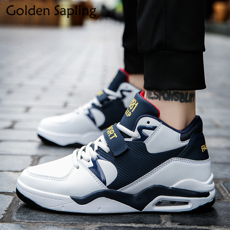 Golden Sapling High Top Sneakers Men Basketball Shoes Man Air Cushion Men's Sneakers Breathable Leather Basket Male Shoes Sports sapling