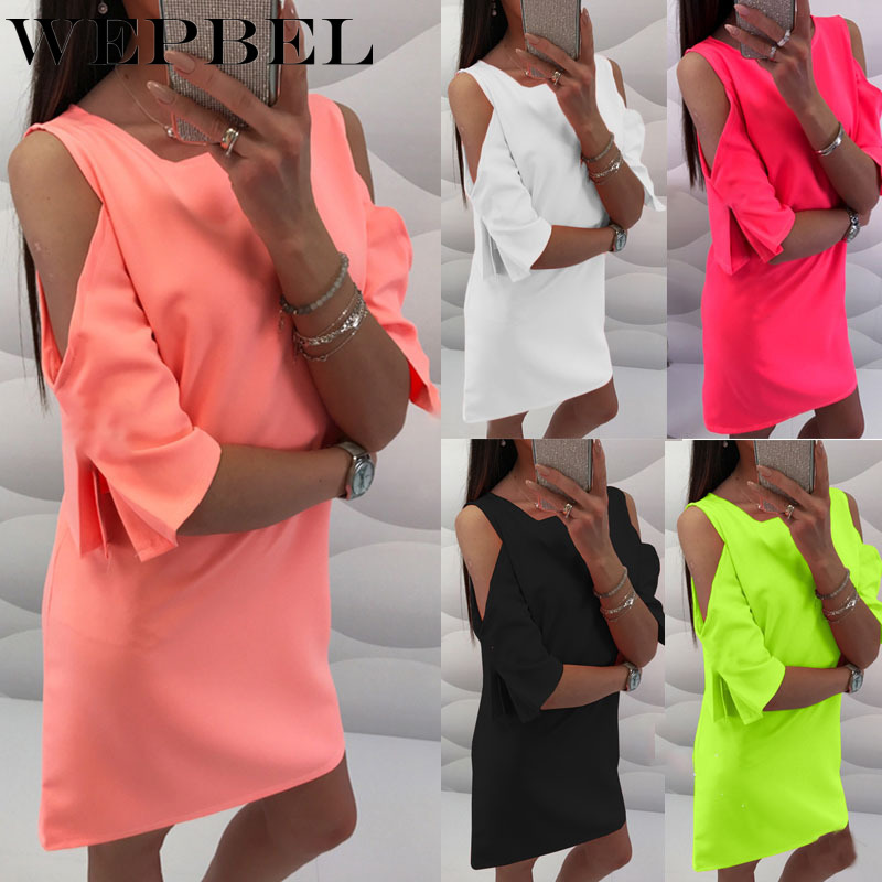WEPBEL Women Off Shoulder Mini Dress Round Neck Short Sleeve Chiffon Dress Ruffles Party Mini Dress Tunics T-shirt Dresses