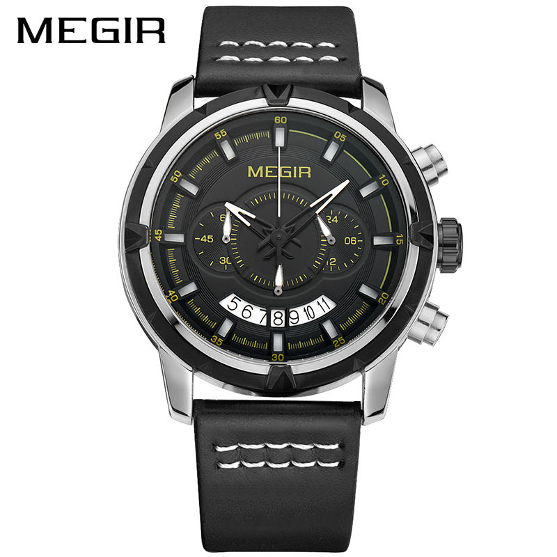 MEGIR Sport Men Quartz Watch Multifunction Chronograph Fashion Wrist Watches Leather Strap Clock Men Relogio Masculino ML2047 недорго, оригинальная цена