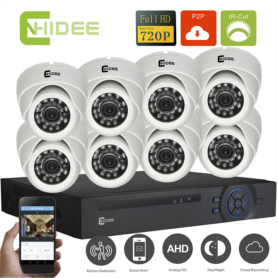 CNHIDEE AHD 8CH 720P Home Security CCTV Camera IR 1200TVL HD System KIT Video surveillance System 8CH Outdoor Dome night version cctv 4ch 1080p ahd recording kit with hd 2mp dome ir day night 4 channel ahd camera kit video surveillance home security system