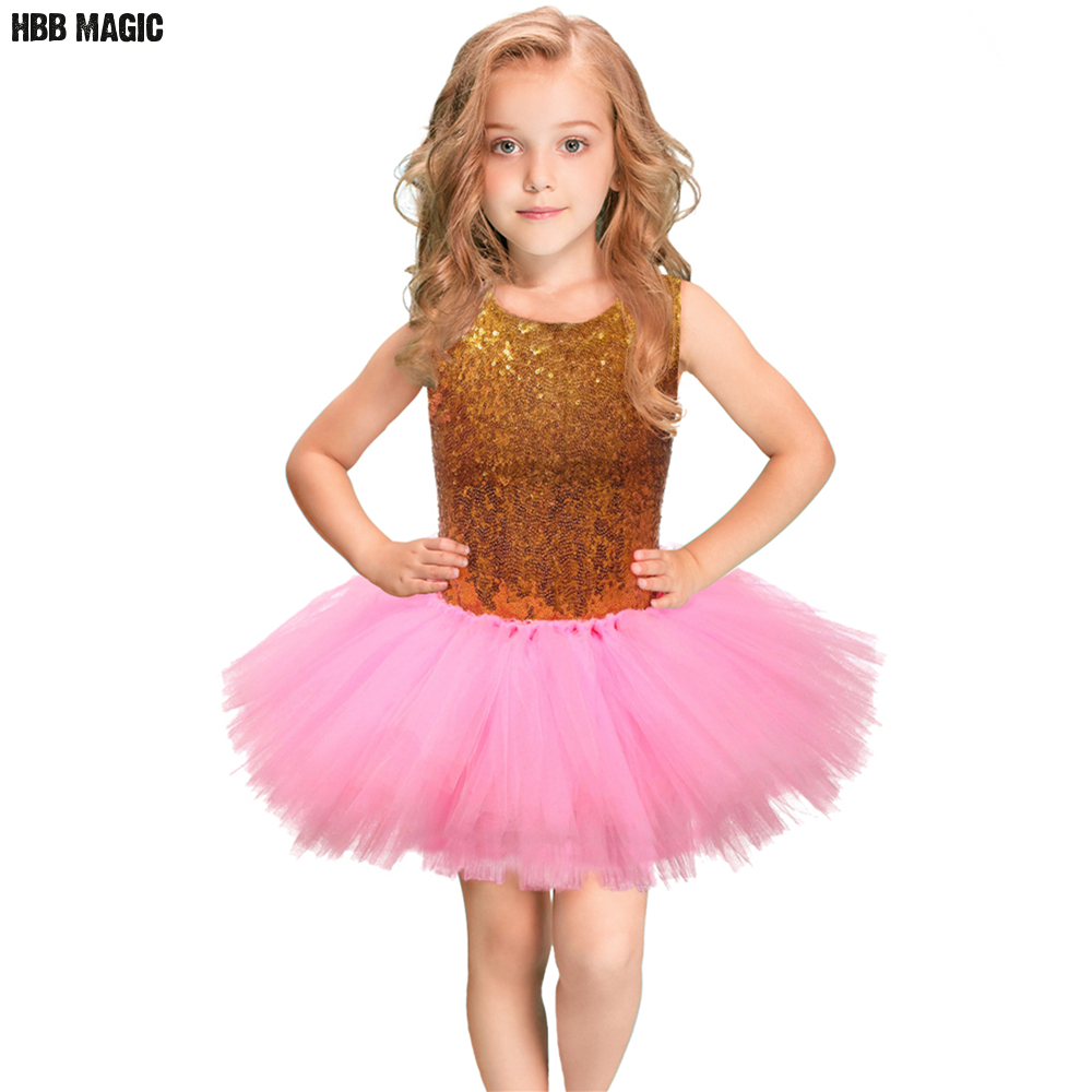 Gold Sequins Girl Party Dress Pink Princess Ball Gown Kids Dresses For Girls Birthday Wedding Performance Tulle Tutu Dress 2-8Y girls ball gown lace flowers girl white dress for prom princess dresses for wedding birthday party kids clothes floral evening