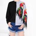 2016 Otoño Nuevo Color Del Encanto Lentejuelas Irregular Patrón Sudadera Sudadera Con Capucha de Las Mujeres de Moda Tops