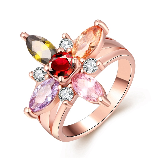 big flower wedding rings for women bague crystal jewelry pink gold ring antiallergic grandes anillos para - Flower Wedding Rings