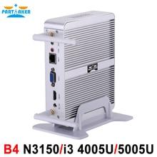 Partaker B4 Intel 14nm Quad Core N3150 Dual Core i3 4005U/5005U Процессора HTPC Mini Pc с HDMI VGA 4 К HD