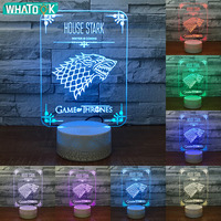 Acrylic 3D Optical Night Lights LED Colorful Wolf House Stark Cool Baby Gifts Sleeping Lighting Home Decoration USB Lava Lamp