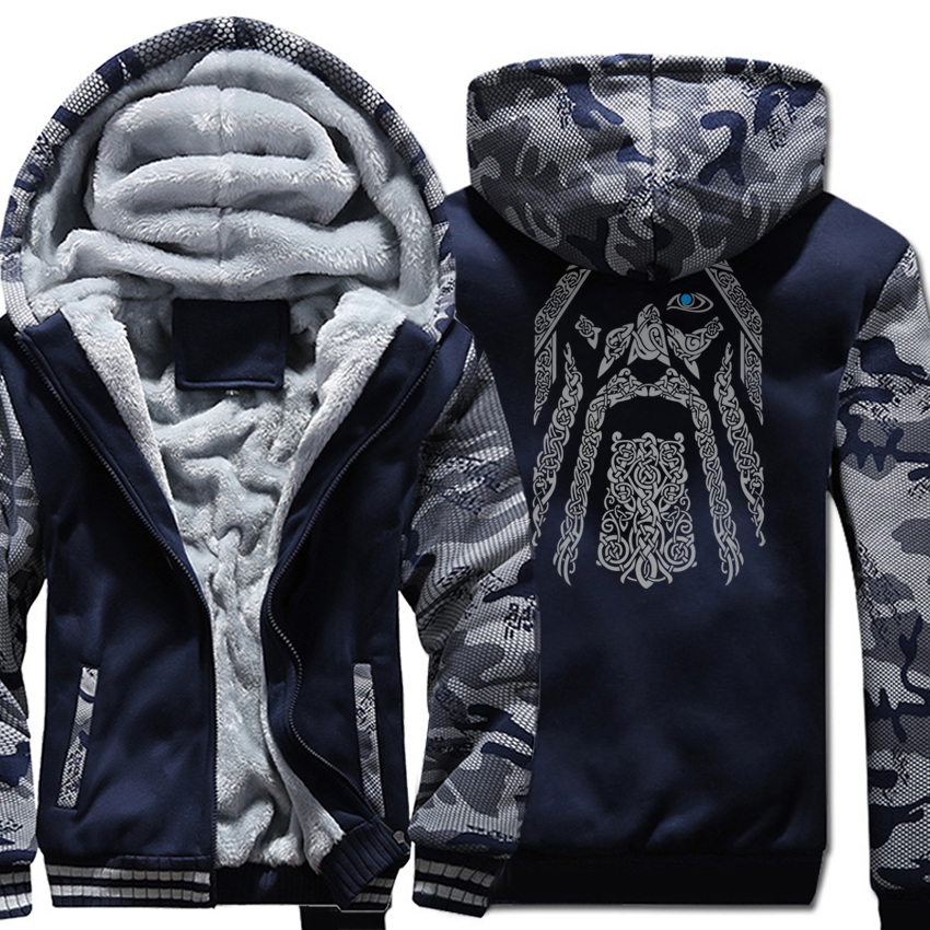 Personalizzato Odin Vikings Hoodies 2018 Inverno Nuova Moda Streetwear Punk Freddo Felpa Da Uomo Con Cappuccio Camouflage Marca Cappotto Del Hoodie Kpop