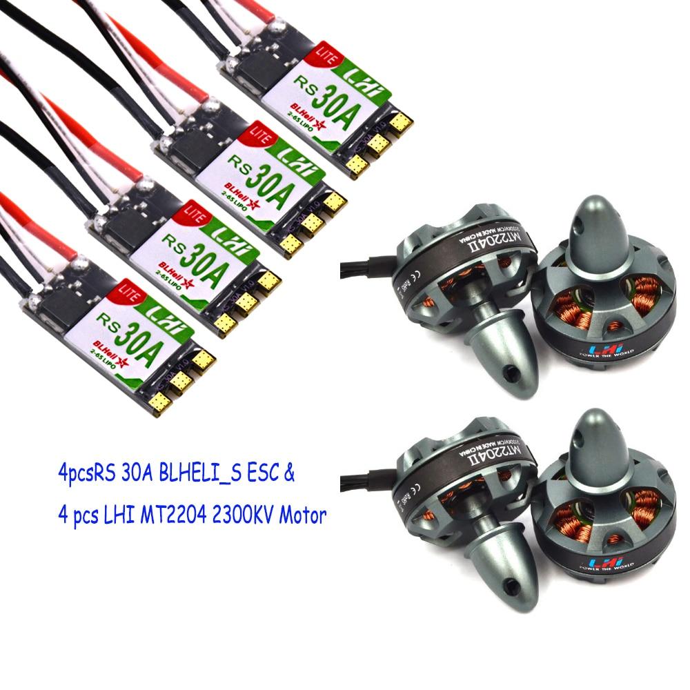 LHI FPV 4x MT2204 2300kv CW CCW FPV Brushless Motor (2-4S)+4XLHI RS30A V2 30A Blheli_S ESC Support Oneshot125 Oneshot42 lhi fpv 4x mt22042300kv cw ccw fpv brushless motor 2 4s 4pcs littlebee esc 20a speed controller for mini quadcopter qav250