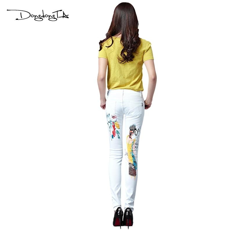 Dongdongta Yeni Kadın Kızlar Kot 2017 Orijinal Tasarım Beyaz Renk - Bayan Giyimi - Fotoğraf 4
