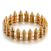 Fashion Cool Men Gothic Rock Yellow Gold Titanium Steel Round Cross Motorcycle Bicycle Bike Bullet Clip Chain Bracelets Jewelry