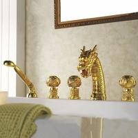 Bathtub Faucet Brass Gold Dragon Waterfall Bathroom Sink Faucet Handheld Shower Deck Luxury Tub Widespread Mixer Tap L