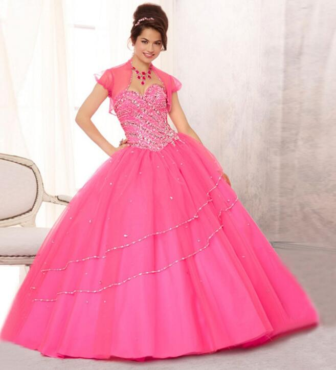 83e10b677bd Rose Pink Sexy Ball Gown Quinceanera Dresses 2017 Sweet 16 Dresses Birthday  Dresses Long Party Gowns With Jacket Sweetheart M-in Quinceanera Dresses  from ...
