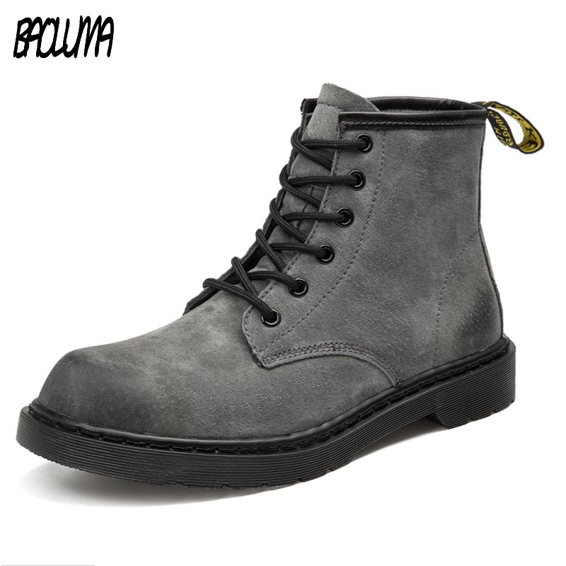Mens Black Gray Boots Warm Men Early And Cold Winter Genuine Leather Men Unisex Waterproof Snow Boots Work Ankle Boots Men Boots