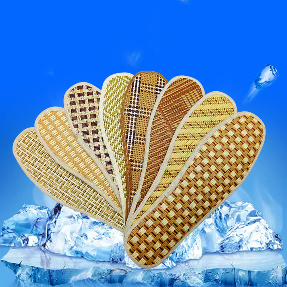 1 Pair Hand-Woven Bamboo Linen Insoles For Sandals Shoes Unisex Outdoor Sports Sweat-absorbent Breathable Cool Inserts Shoe Pad