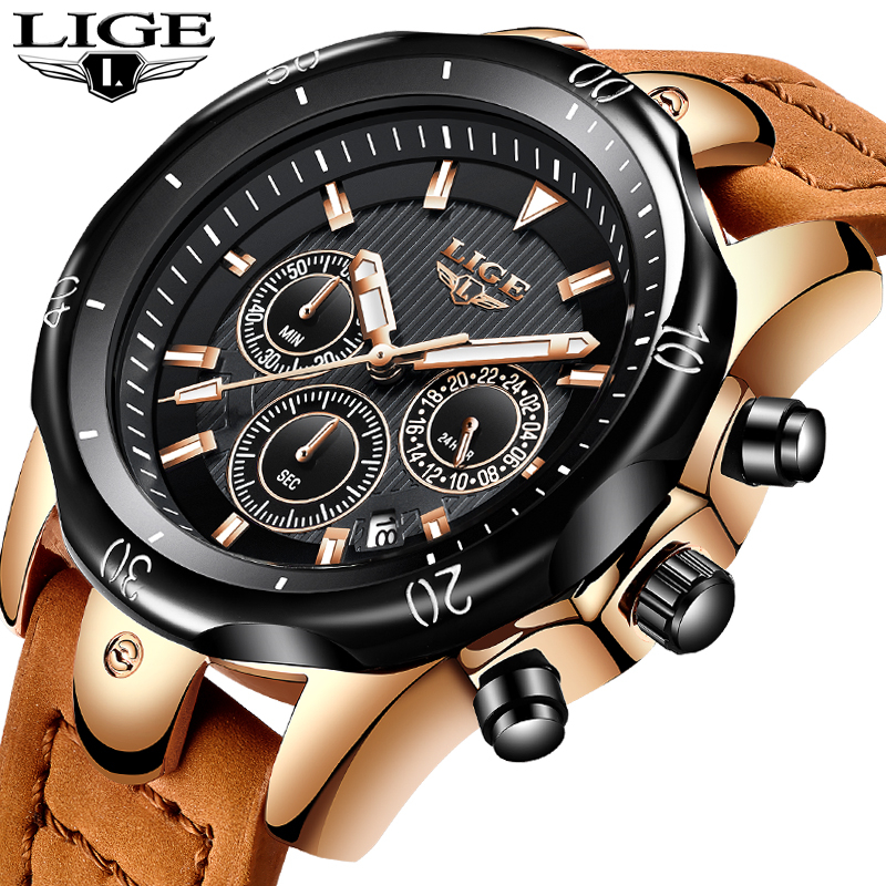 LIGE Watches Mens Brand Luxury Quartz Wristwatches Men Casual Leather Military Waterproof Sport Wrist Watch Relogio Masculino 2017 new top fashion time limited relogio masculino mans watches sale sport watch blacl waterproof case quartz man wristwatches
