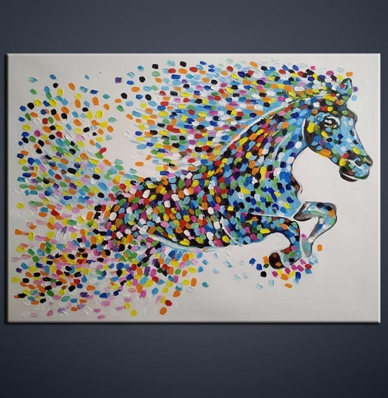 Abstract paard cadeau moderne kunst aan de muur met de hand gemaakt - Huisdecoratie