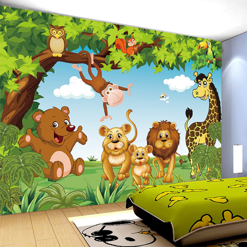 Cartoon animation child room wall mural for kids room boy for Childrens mural wallpaper