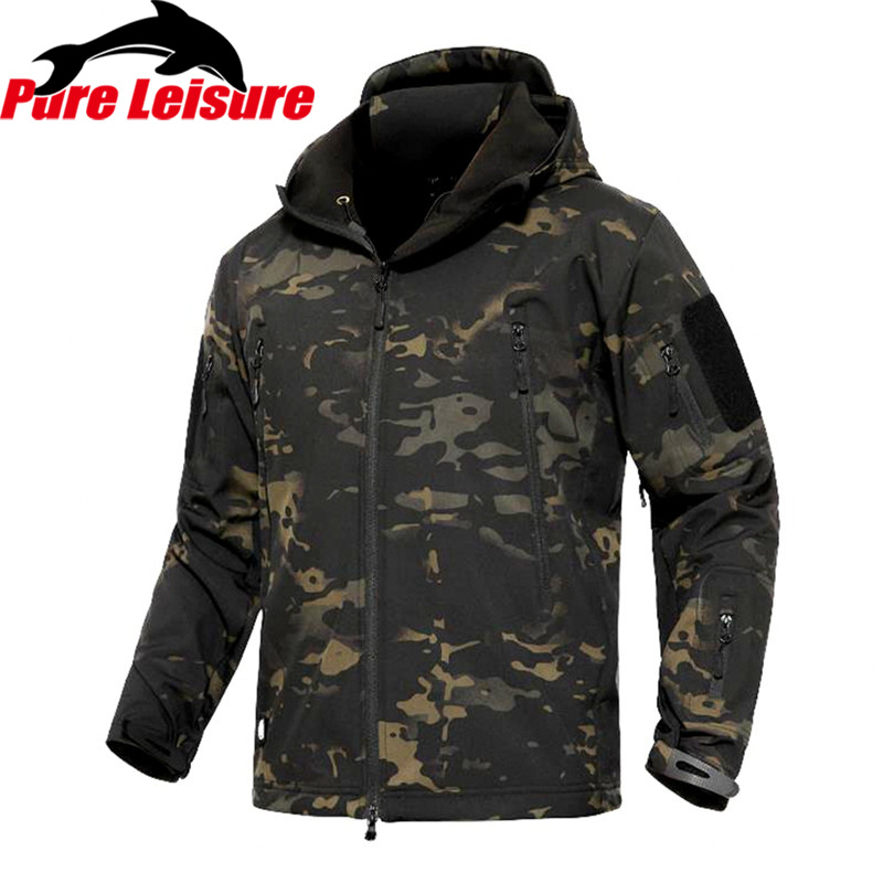 PureLeisure Winter Fishing Outdoor Hooded Softshell Jacket Men Military Tactical Hunting Clothes for Fishing Hiking Coat