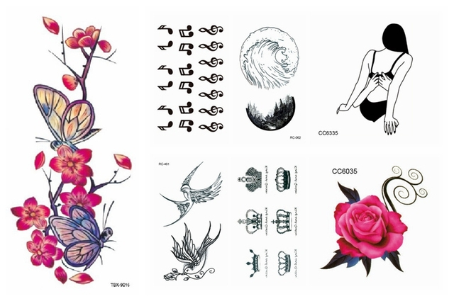 Water Transfer Fake Tattoo Flower Butterfly Birds Musical Note Crown