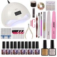 Full Manicure Set With Lamp Nail Kit 48W UV LEDLamp For Nail Art Sets 10 pcs UV Platinum Series Gel Nail Set Tools For Manicure