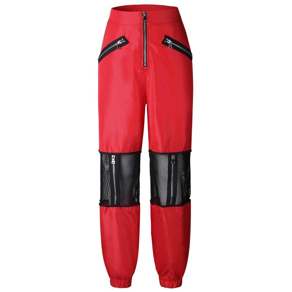جديد السراويل النساء ملابس عصرية الأحمر شبكة سوداء خليط النساء السراويل فضفاضة 2018 عارضة عالية الخصر سستة سروال شكل قلم رصاص