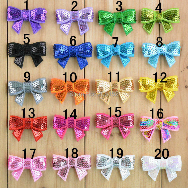 12pcs/lot Mini Sequin Hair Bow, 4cm Embroidered Bow knot, Shiny Bow Hair for DIY Headwear Hair Accessories