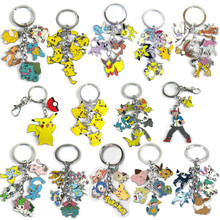 one piece new anime pokemon keychain zinc alloy pokemon figures pikachu squirtle keychians pendant hot sale key chain brinquedos