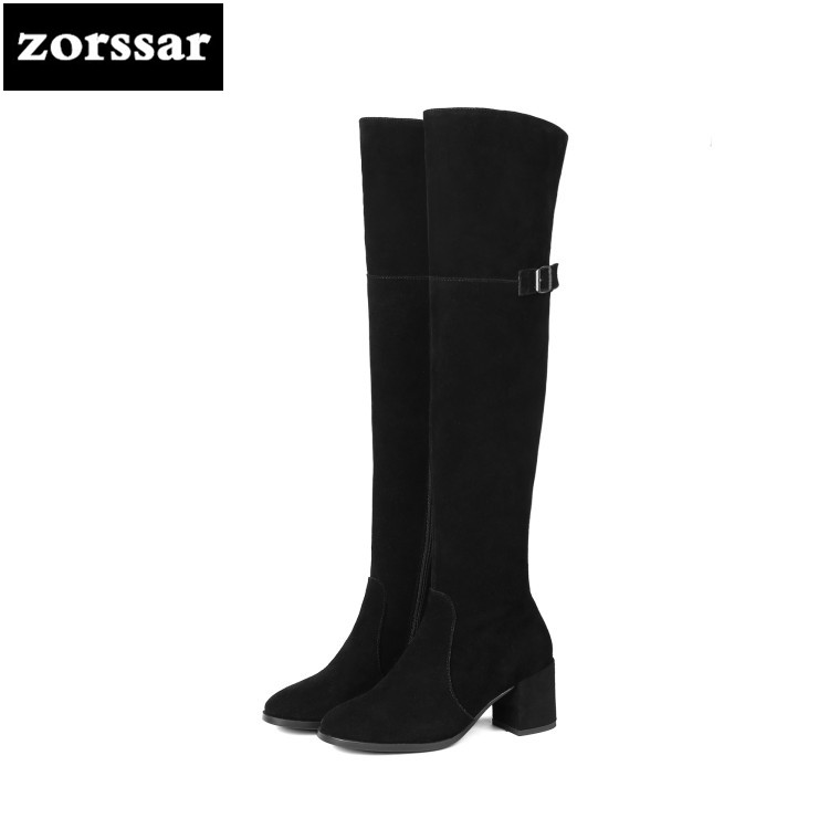 {Zorssar} 2019 New Winter Fur Female Snow boots Fashion knee high Boots Suede Leather Women Over the knee boots High heels zorssar 2019 new winter fur female snow boots fashion knee high boots suede leather women over the knee boots high heels