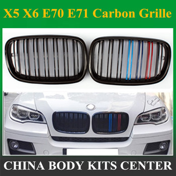 1 Pair Carbon Glossy Black M-Color Front Grille Grill Double Slat Kidney for BMW X5 X6 E70 E71 2007-2013 image